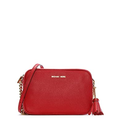 a0687e7894 Michael Kors Ginny Bright Red Tumbled Leather Camera Bag  Amazon.co.uk   Clothing