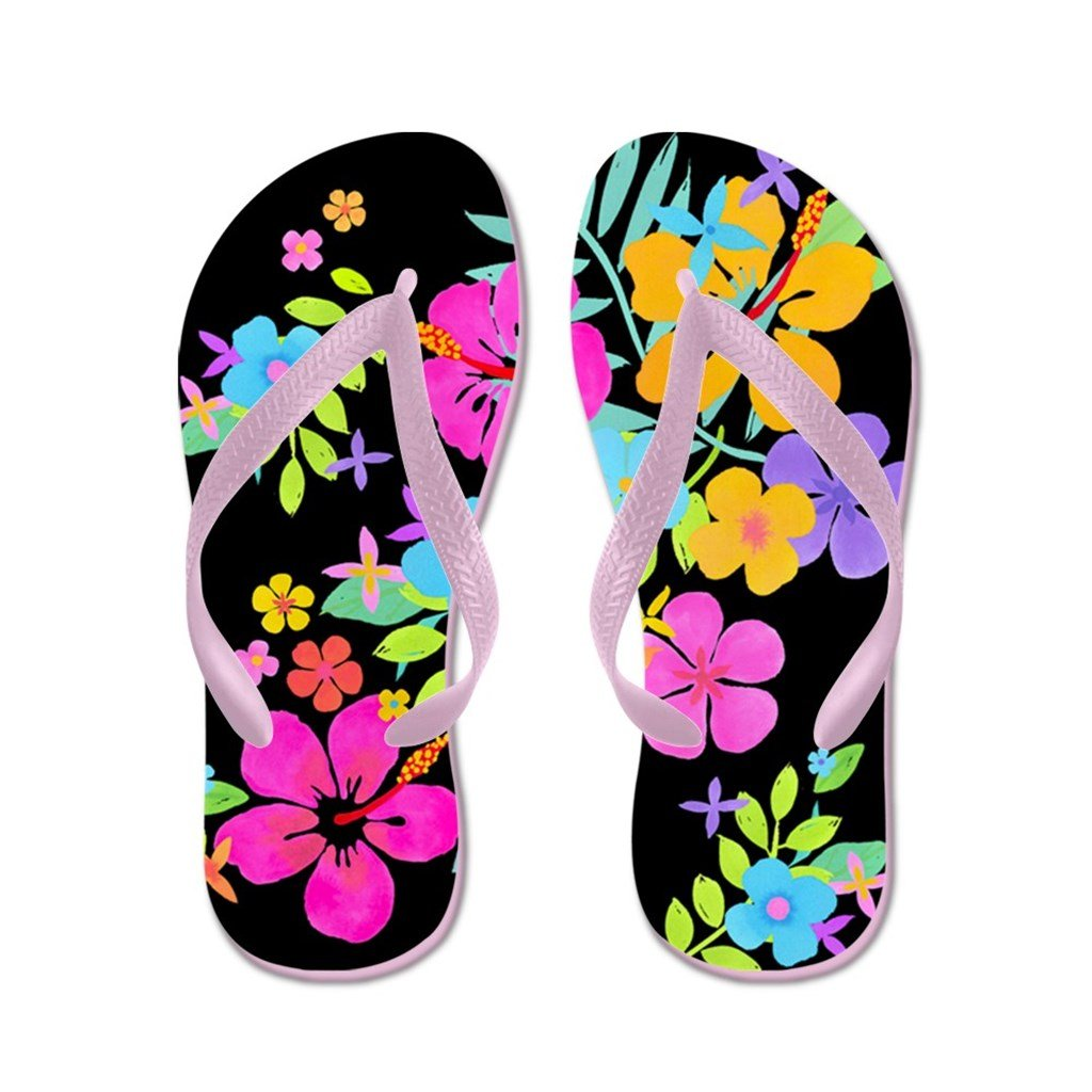 Lplpol Tropical Flowers Sandals Flip Flops for Kids Adult Unisex Beach Sandals Pool Shoes Party Slippers Black Pink Blue Belt for Chosen