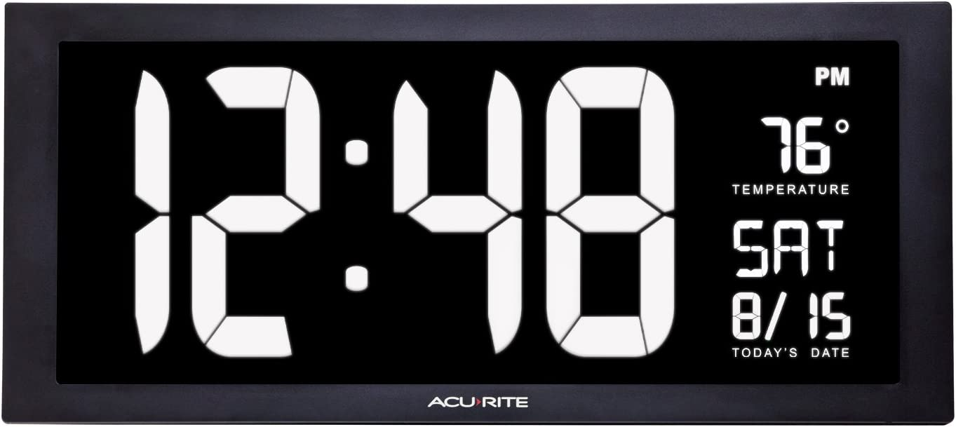 Acurite 76102m Oversized Led Clock With Indoor Temperature Date And Fold Out Stand 18 Home Kitchen