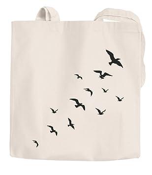 Yute bolsa Asa Larga Pájaros Birds Fly funda de algodón ...