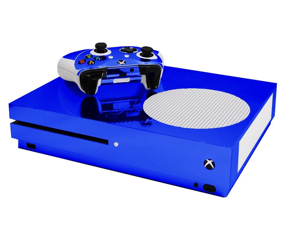 Blue Chrome Mirror Vinyl Decal Mod Kit for MicroSoft Xbox One Slim (XB1S) Console by System Skins