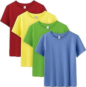 LAPASA Pack de 4 Camiseta para Niño o Niña Unisex de Manga Corta 100% Algodón K01: Amazon.es: Ropa y accesorios
