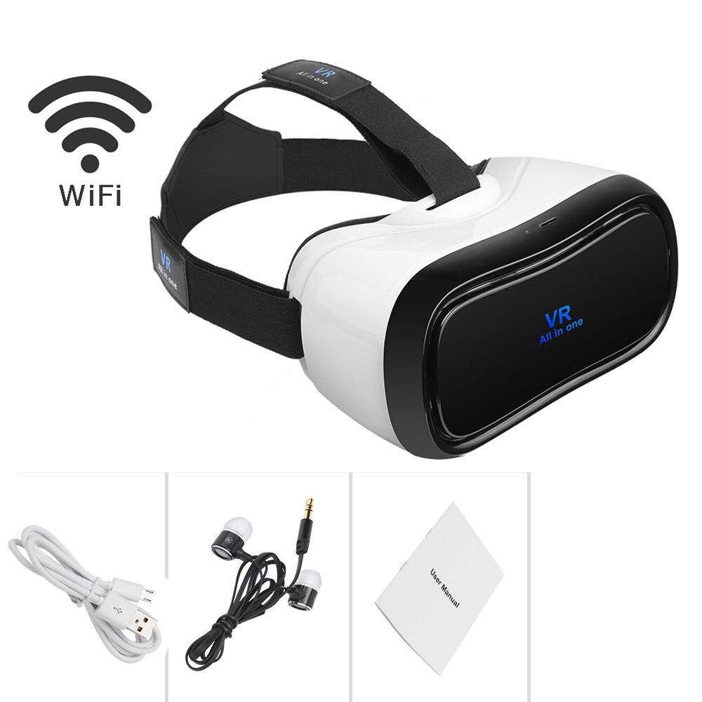 287af88ee9f Amazon.com  VR All In One Virtual Reality Headset VR Glasses 1080P 90 FOV  Android System 5.5 inch Support Bluetooth Wifi HDMI TF Card Apps 360 degree  View ...