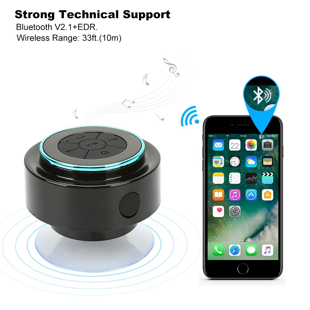 Goodpro Bluetooth Shower Speaker Portable Wireless Waterproof Bts 06 Original Hd Sound And Bass Suction Cup Hands Free Built In Mic 002 Black Home