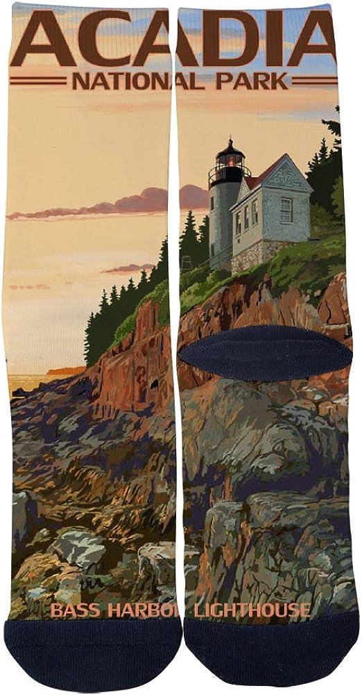 Maine Bass Harbor Lighthouse Acadia National Park Socks Mens Womens Casual Socks Custom Creative Crew Socks