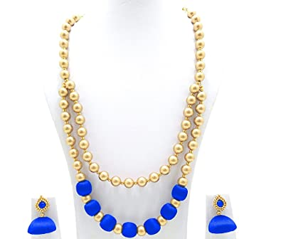 1d2d1f9db2 Buy Party Wear Handmade Fashionable Two Layer Silk Thread Necklace with  Copper Plastic Balls and Earring Set for Beautiful Women Dark Blue Color  Online at ...