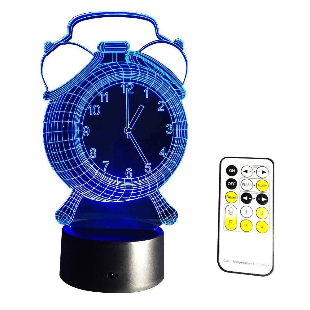 Neuheit Lampe, Uhrentyp 3D-Nachtlicht LED-Lampe Nachtlicht Kinderzimmer Home Decor Geburtstag Geschenke 7 Farbwechsel mit Fernbedienung Farbe Atmosphäre Lampe