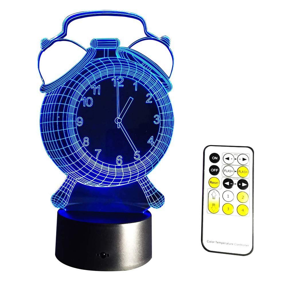 Novelty Lamp, Clock Type 3D Night Light LED Lamp Nightlight Kids' Room Home Décor Birthday Gifts 7 Color Changing with Remote Control Color Atmosphere Lamp
