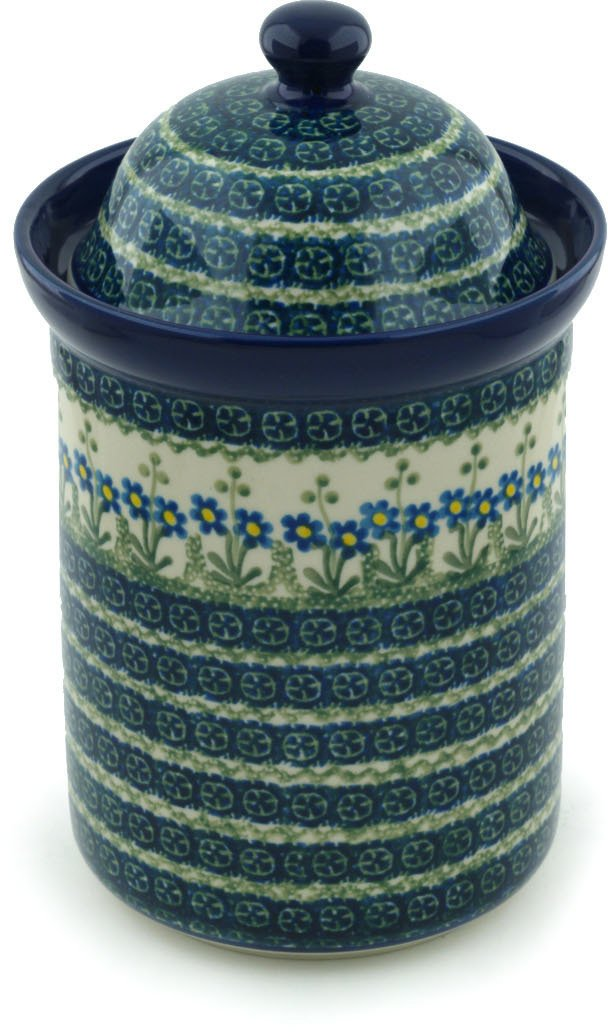 Polish Pottery Jar with Lid 11-inch Blue Daisy Circle