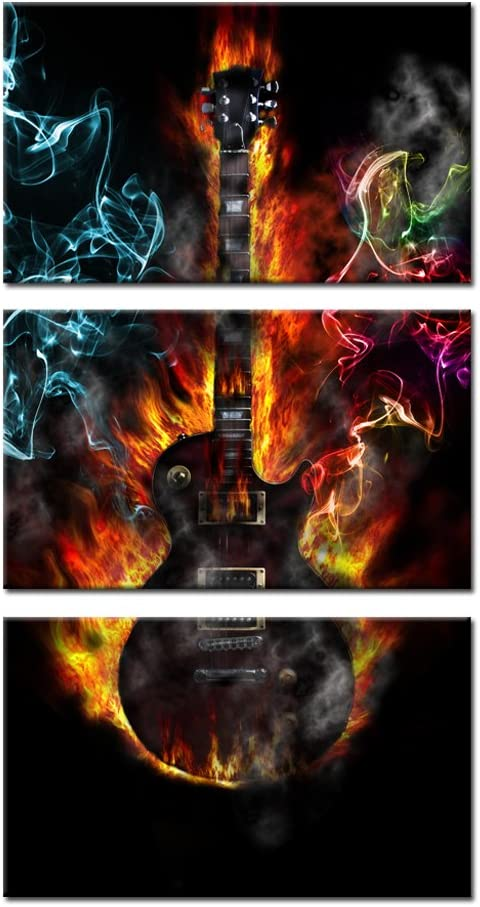 Kreative Arts - 3 Pieces Music Canvas Prints Burning Fire Guitar Wall Art Passion Posters and Prints Contemporary Painting Gallery Wrapped Art Work for Home Walls 12x20inchx3pcs
