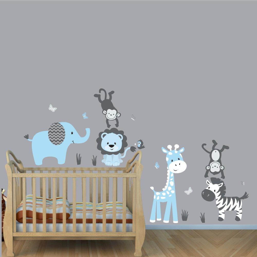 RuiHome Jungle Animals Walking on Bridge Wall Sticker Wildlife Cartoon Elephant Lion Giraffe Donkey Removable Art Decals Kids Room Baby Nursery Decor