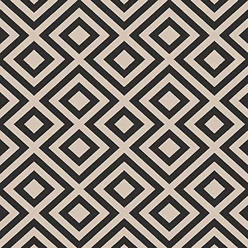 picture of Surya ALF9639-73SQ Machine Made Geometric Area Rug, 7-Feet 3-Inch, Black/Beige