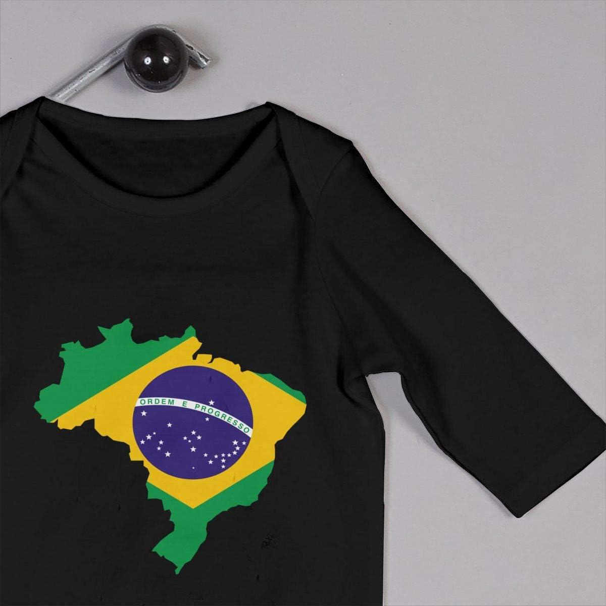 YELTY6F Brasil Flag Map Printed Baby Boys Girls Bodysuit Long Sleeve Pajamas Black