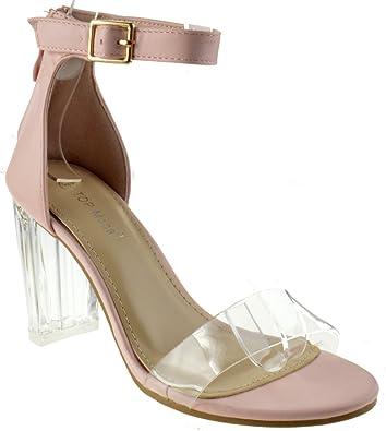 f0b2899f45 Alma 55 Womens Clear Metallic Chunky Heel Peep Toe Lucite Sandals Blush 6