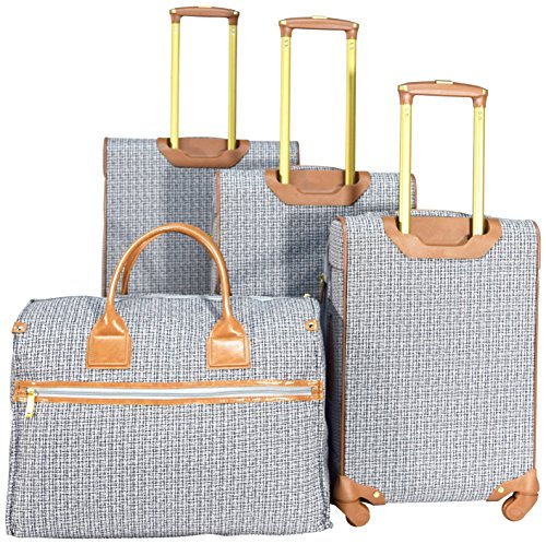 Nicole Miller New York Taylor Set of 4: Box Bag, 20'', 24'', 28'' Expandable Spinner Luggages (Black/White Plaid) by Nicole Miller (Image #2)