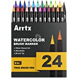 Arrtx Watercolor True Brush Pens, 24 Colors Professional Water Based Markers, Washable & Nontoxic, Flexible Brush Tips for Painting, Drawing, Coloring-Lightwish