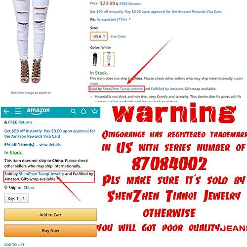 QingOrange Women High Waist Skinny Ripped Jeans Distressed Stretch Pencil Pants Boyfriend Trouser by QingOrange (Image #6)