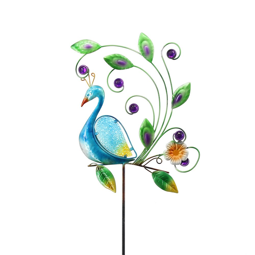 Comfy Hour 45'' Height Colorful Metal Art Peacock Garden Stake, Multi Color