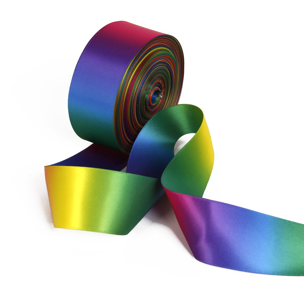 Satin Ribbon Gradient Rainbow Double Side Rainbow Colorful Printed 50 Yard 1-1/2'' Wide for DIY Handmade (1-1/2'' Wide, Satin Ribbon) by David accessories (Image #1)