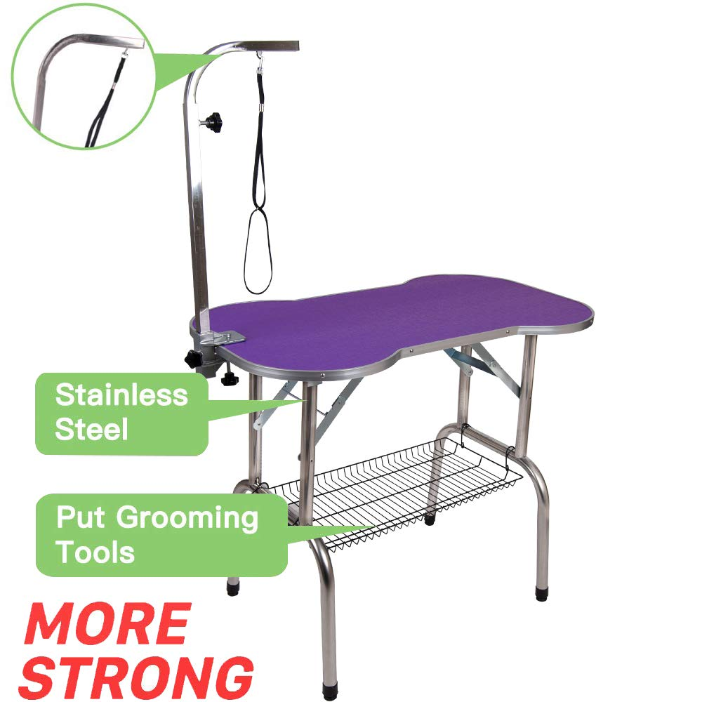 Polar Aurora Pingkay Heavy Duty Stainless Steel Pet Professional Dog Bone Pattern Foldable Grooming Table w/Adjustable Arm & Noose & Mesh Tray (38'' Purple) by Polar Aurora