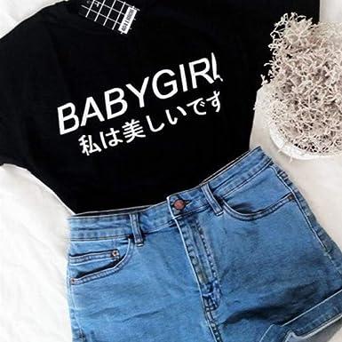 YUFAA Babygirl Harajuku Camiseta Tumblr Inspirado Softgrunge papá Pale Grunge Harajuku Camisetas Tumblr Camiseta Tops Casual Camisa de Entrenamiento (Color : Negro, Size : SG): Amazon.es: Ropa y accesorios
