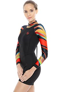 8344c5df4ee Platinum Sun Women's Neoprene Shorty Wetsuit Long-Sleeve Swimsuit Water  Suits for Diving Surfing Kayaking
