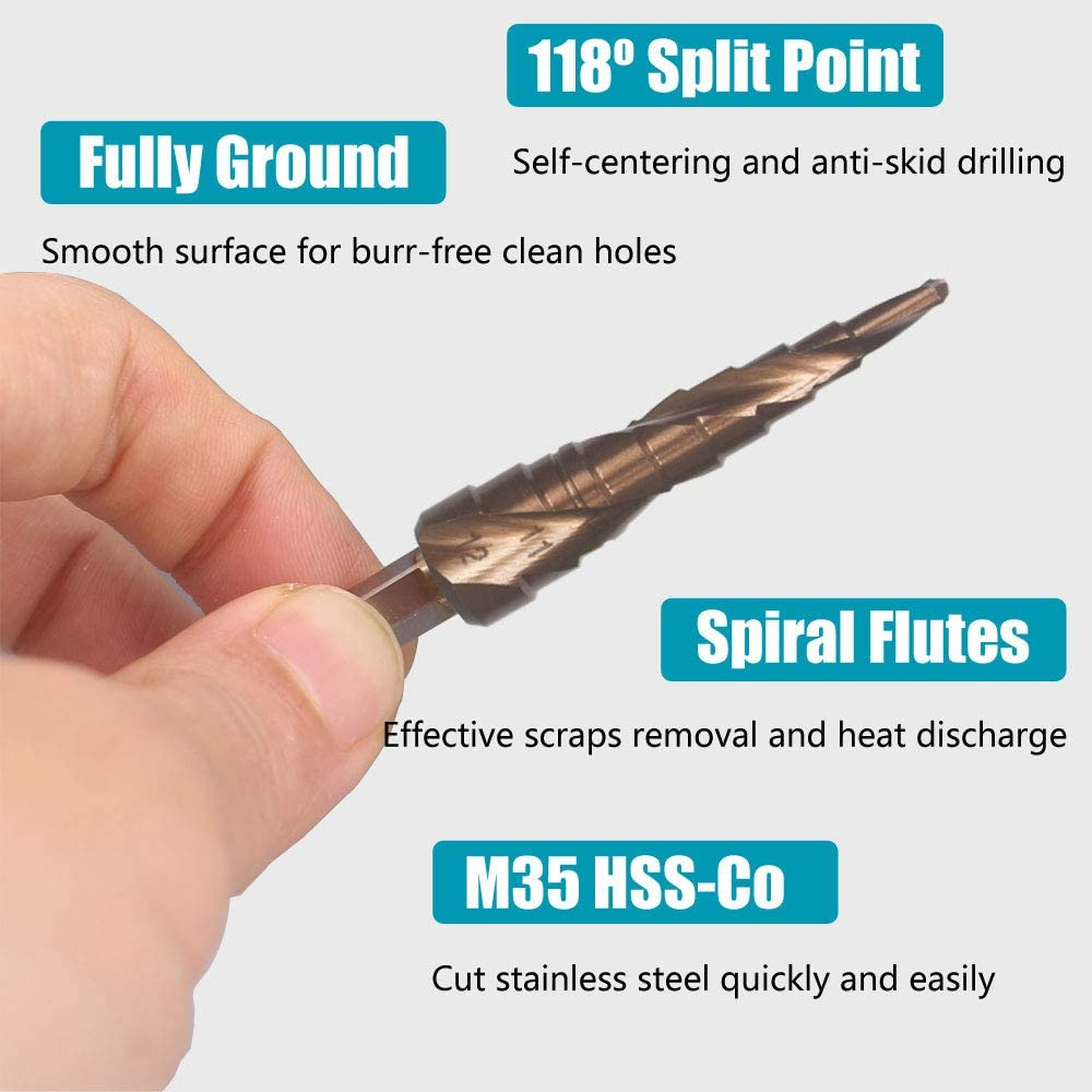 Double Spiral Flutes M35 Grade 5/% Cobalt HSS-Co Hymnorq Step Drill Bit for Stainless Steel and Iron Unibit for Drilling Holes in Metal Sheet 1//4 Inch Hex Shank 9 Diameters from 4mm to 20mm