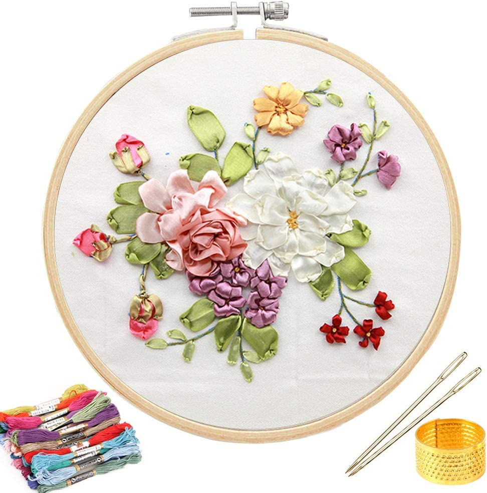 Color Threads Tools Kit 1 Pack, Style 1# Stamped Embroidery Kit DIY Beginner Silk Ribbon Embroidery Starter Kit for Art Craft Handy Sewing Including Color Pattern Embroidery Cloth Embroidery Hoop