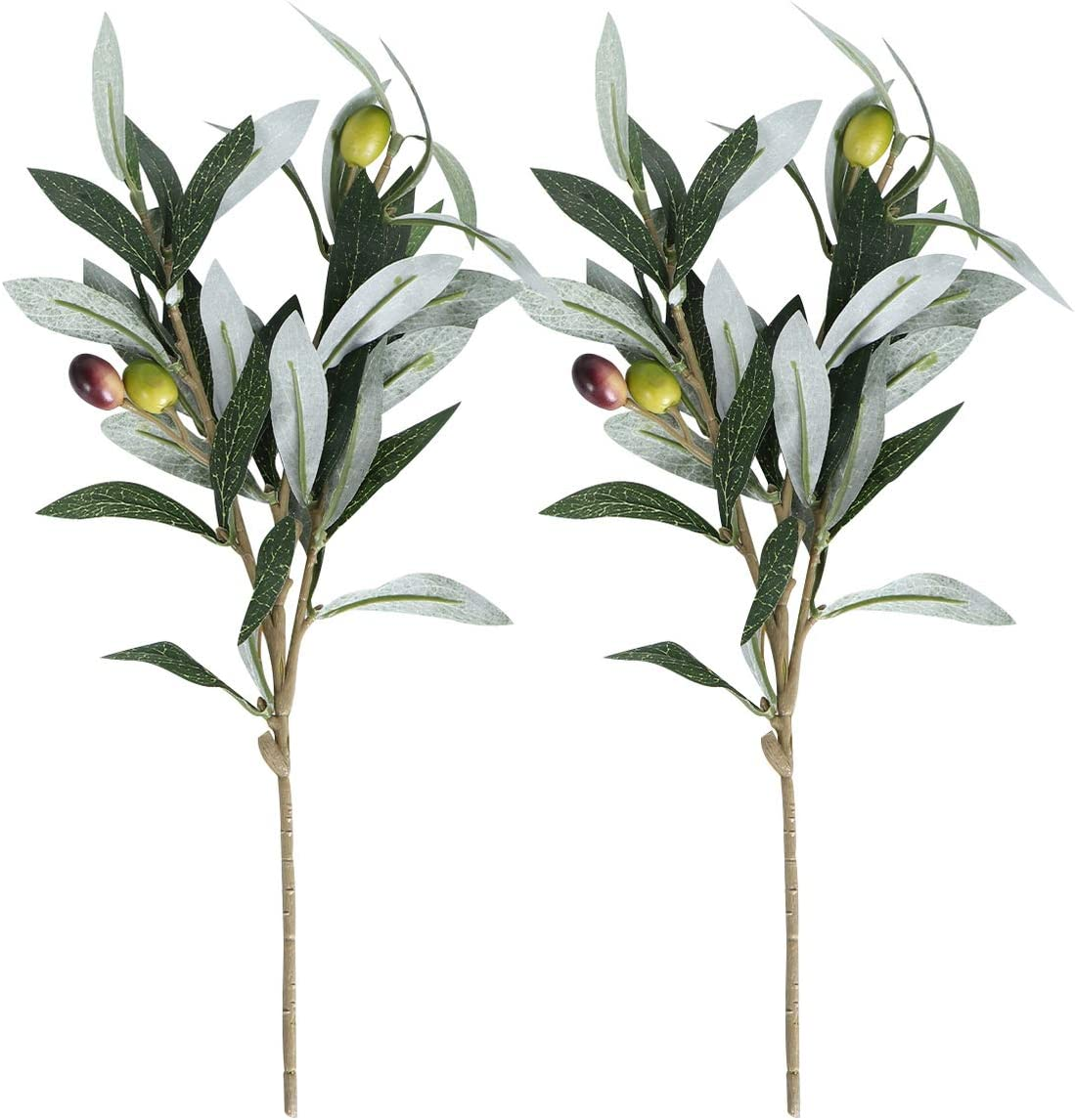 IMIKEYA Artificial Plants Greenery Olive Branches Stems Fake Plants Green Leaves Arrangement Fruits Branch Leaves for Home Office Indoor Outdoor DIY Wreath Decor 2pcs