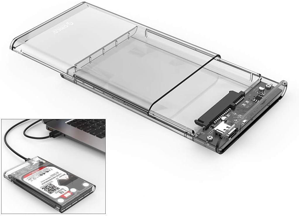 Aliturtle 2.5 USB 3 External Hard Drive Enclosure Casing for 2.5 inch 7mm//9.5mm SATA HDD SSD Support UASP SATA III Max 2TB Tool-Free Design Clear