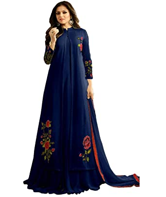 db8159d2a2 Tanviv Fashion Care Women's Faux Georgette Long Indo Western Salwar Suit  (vt027, Blue, Free Size): Amazon.in: Clothing & Accessories