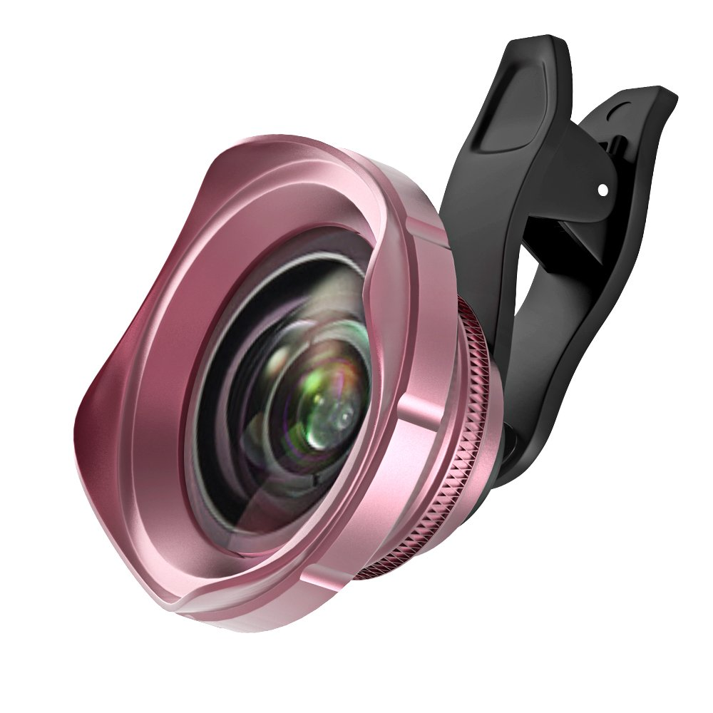 Cell Phone Camera Lens Kit, Vorida 0.6X Supper Wide Angle Lens 15X Macro Lens for iPhone X/8/7/7 Plus /6/6 Plus/6S/6S Plus ipad Samsung Most Smartphones, Pink