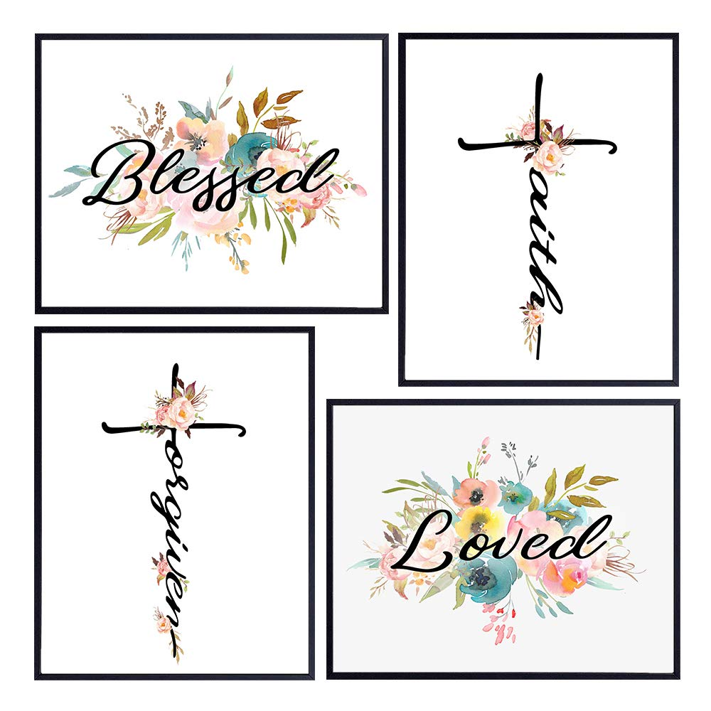 Religious Blessed Wall Decor - Christian Wall Art for Office, Church, Living Room, Bedroom, Kitchen - Floral Shabby Chic Home Decoration Set - Boho Gift for Women, Girls - Bible Verse Scripture Signs