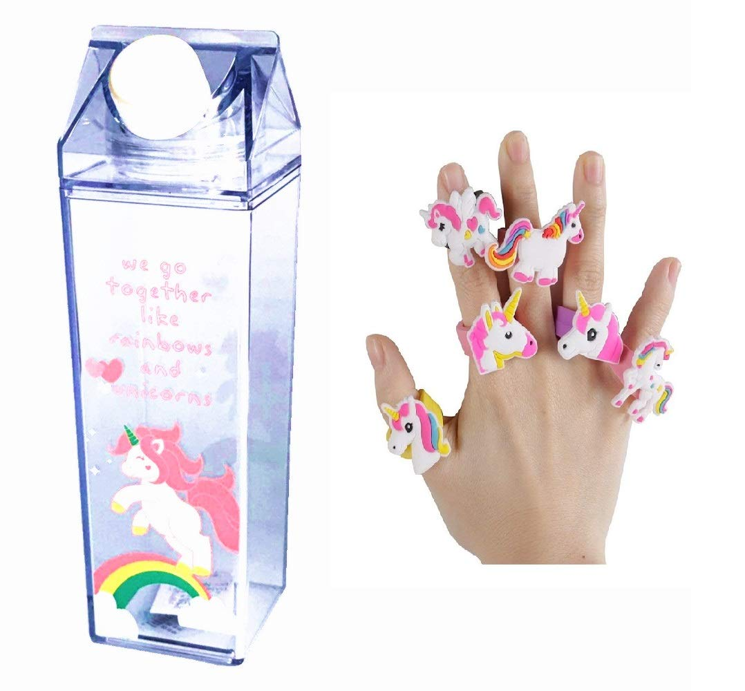 Unicorn Water Bottle - Zero Waste Water Bottle - Milk Box Plastic - Milk Bottles - Juice Bottle - BPA Free Environment Friendly Material 500ml + 2 Cute Unicorn Rings (Style 3)