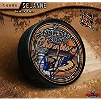 $144 » Teemu Selanne Anaheim Ducks Autographed 2007 Stanley Cup Champions Hockey Puck - Autographed NHL Pucks
