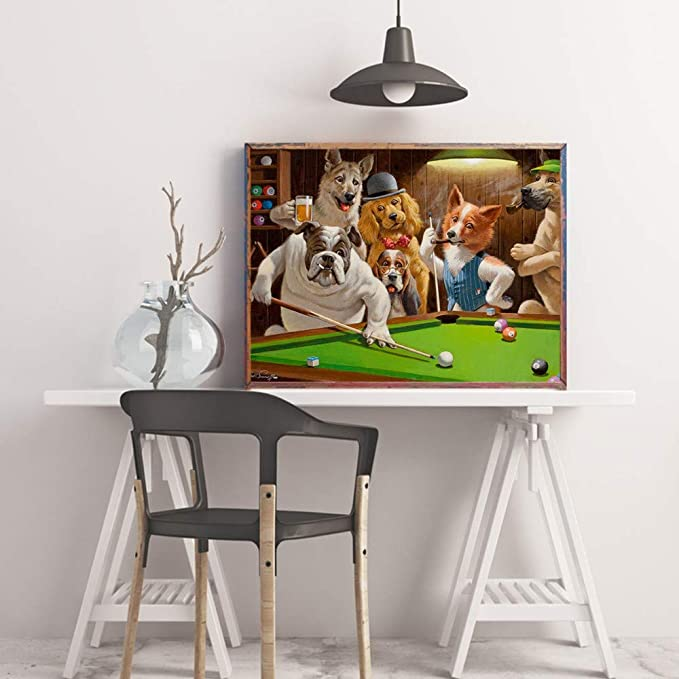 MITENG HD Moderno Lienzo De Impresión De Perros Jugando Billar Billar Pintura Al Óleo sobre Lienzo Decoración De La Habitación En Casa Cartel Sin Marco, S: Amazon.es: Hogar