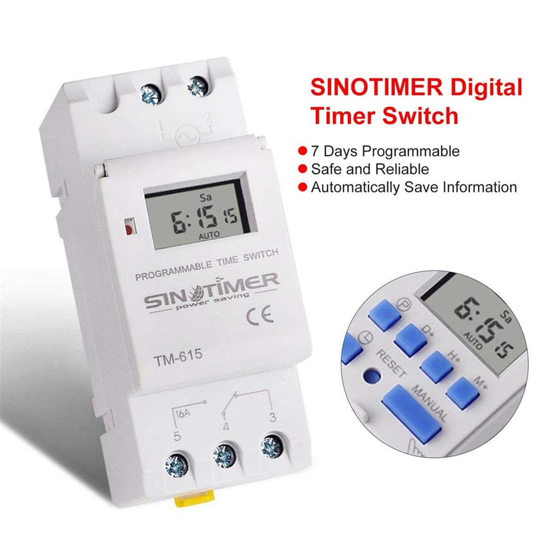 SINOTIMER AC 220V Interruttore orario programmabile settimanale settimanale 7 giorni Controllo rel/è Relay su guida DIN per apparecchi elettrici