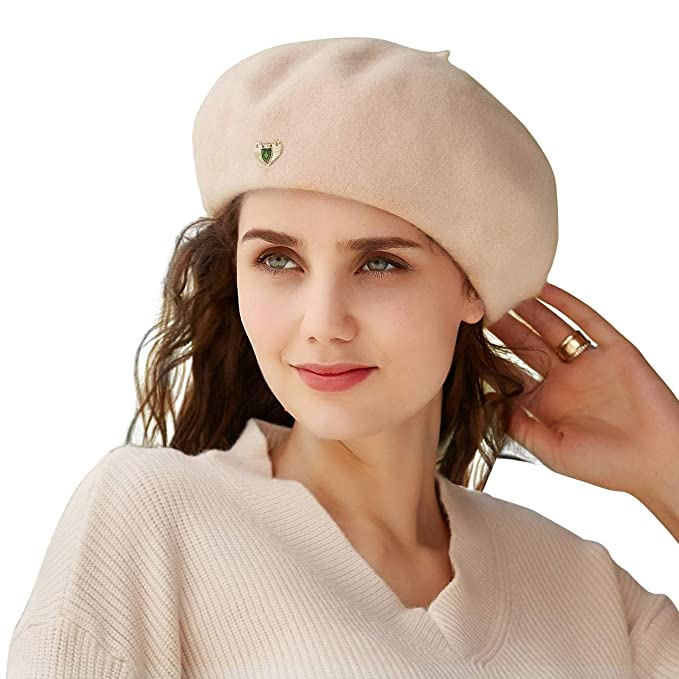 VEC 100% Wool Berets Cap for Women Beanies Cap Artist Hats French Style