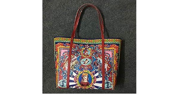 Amazon.com: luxury women tote bag new handbag handbag ladies leather large shopping bag printing winter head layer cowhide bag feminina Color red: Shoes