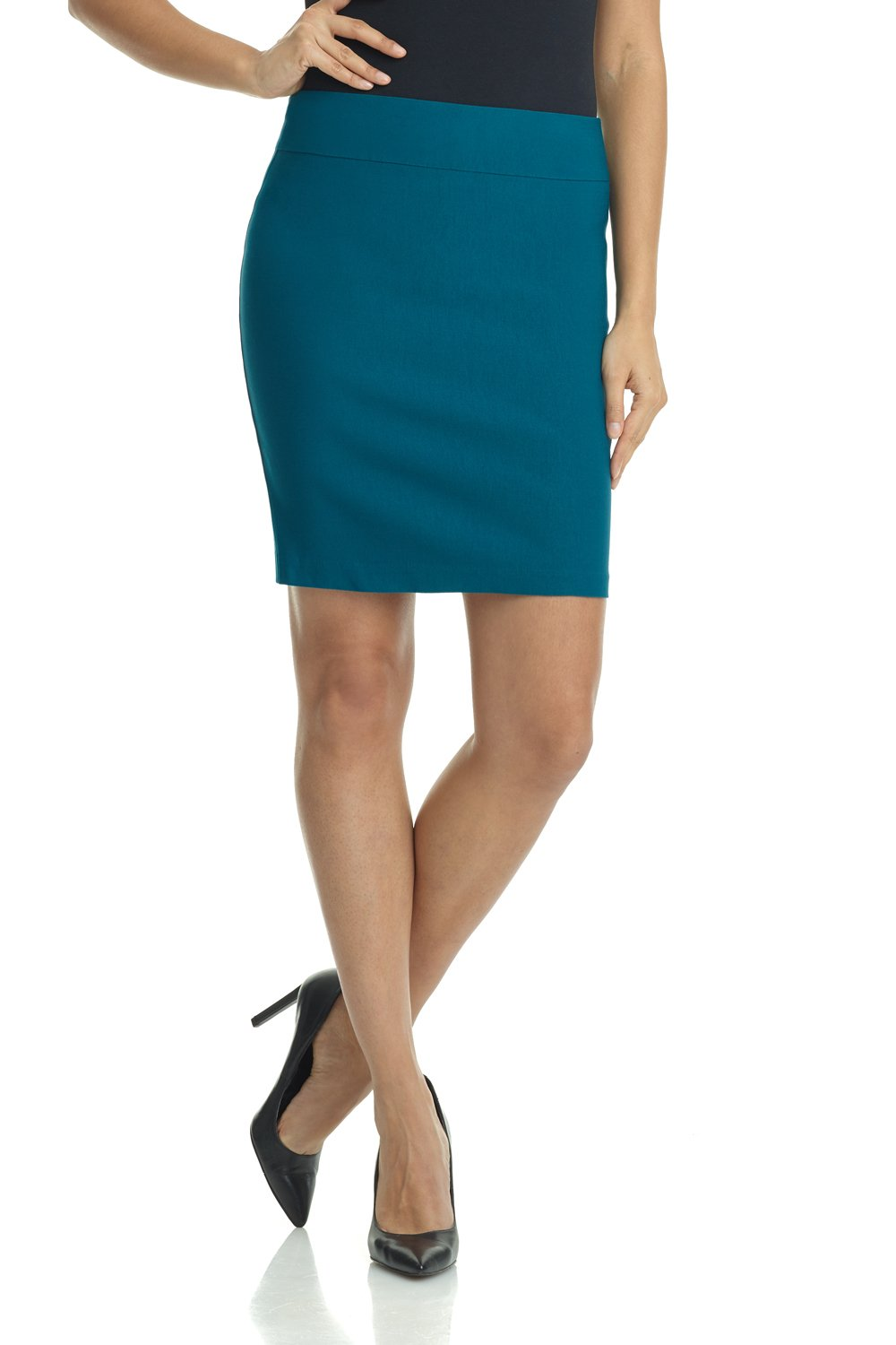 Rekucci Women's Ease in to Comfort Stretchable Above The Knee Pencil Skirt 19'' (X-Small,Teal)