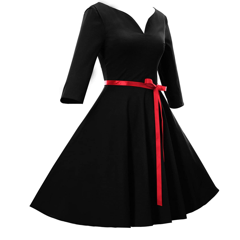 Fanessy Retro Dame Kleid V-Ausschnitt 2/3 Ärmel Knielang Business Kleid mit Gürtel Hepburn Vintage Rock Pareos und Strandkleider s Rock tunika damen Tops Gr. 32-42
