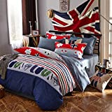 Ttmall Twin Full Size 100% Cotton Red White Blue Grey Green Love Striped the Union Jack Bedding Sets Comforter Sets (Twin, 5pcs with Comforter)