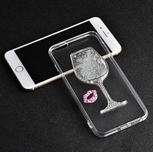 para iPhone 6s Funda, para iPhone 6 Case, Vandot Flexible TPU Protective Carcasa con el Soporte del Orejas de Conejo, 3D Fluido Líquido Quicksands Enchapado Bumper Suave Cubierta del Gel de TPU con la C-TPU03
