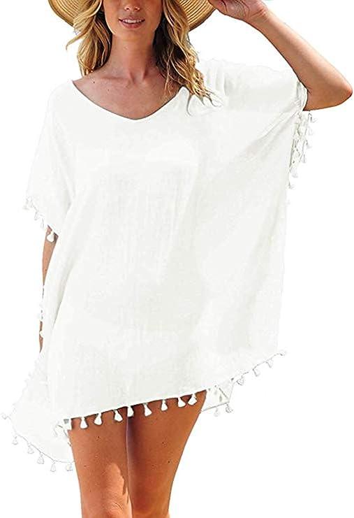 Tkiames Mujer Ropa de Baño Suelto Vestido de Playa Borla Verano Camisolas y Pareos Transparente Bikini Cover up