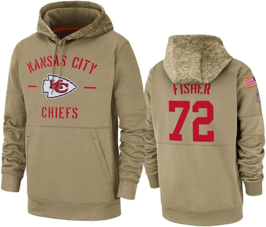 San Francisco 49ers #85 George Kittle Tan 2019 Salute to Service Sideline Therma Pullover Hoodie Apparel