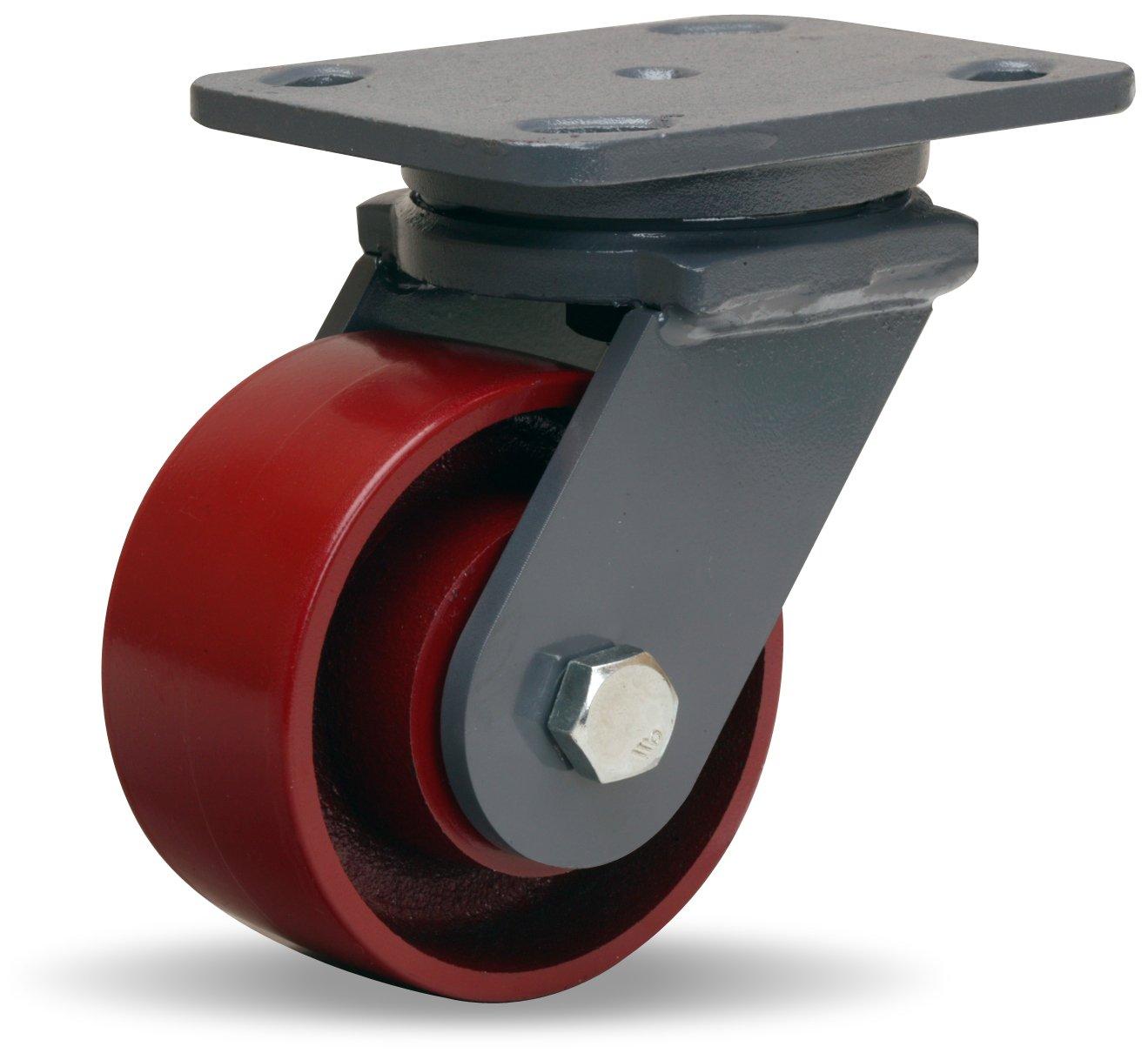 Hamilton Workhorse Plate Caster, Swivel, Metal Wheel, Precision Ball Bearing, 1000 lbs Capacity, 4'' Wheel Dia, 2'' Wheel Width, 5-5/8'' Mount Height, 5'' Plate Length, 4'' Plate Width