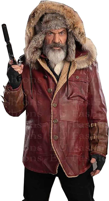 EU Fashions Mel Gibson Fatman Chris Cringle - Parka roja de invierno con capucha para hombre