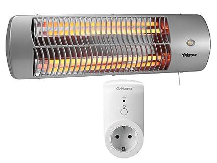 Radiador halógeno cambiador enchufe + WiFi, adecuado para estancias húmedas, hasta 1200 W,