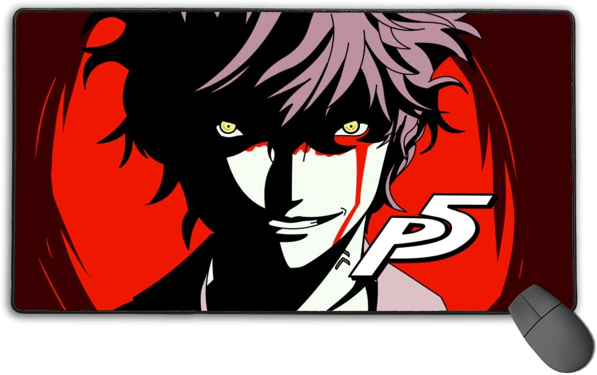 Water-Resistant Desktop Mousepad Optimized for Gaming Sensors 15.7 X 29.5 in,Joker Persona 5 Dancing Star Night Long Gaming Mouse Pad with Non-Slip Rubber Base