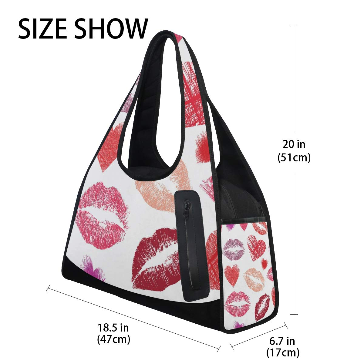 Unisex Travel Duffels Gym Bag Watercolor Lip Heart Canvas Weekender Bag Shoulder Bag Totes bags